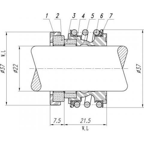 Торцевое уплотнение (сальник) R-MG1-22
