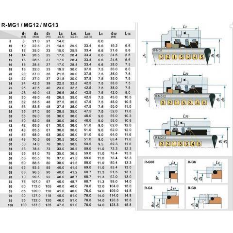 Механическое уплотнение (сальник) R-MG1-20/G4